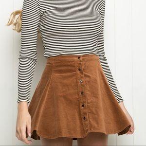 Brandy Melville tan corduroy circle skirt